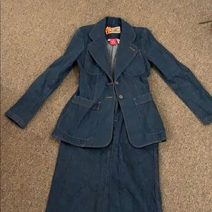 Vintage denim skirt suit SET- blazer and skirt